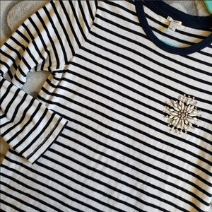J. Crew striped painter tee with jeweled brooch
